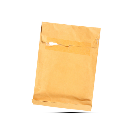 Old brown envelope isolated on white background Stock Photo