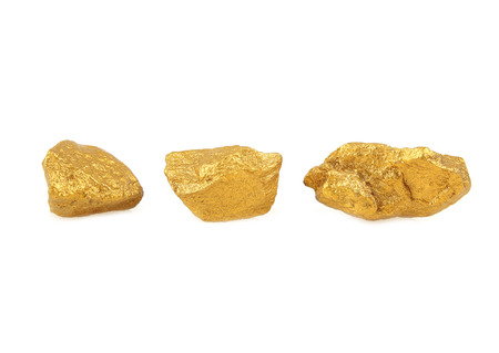 The Three gold nuggets isolated on white Archivio Fotografico