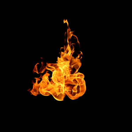 Fire flames collection isolated on black background