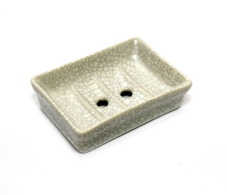 Ceramic soap holder isolated on a white background Stok Fotoğraf