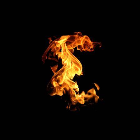 Fire flames on black background. Stock fotó