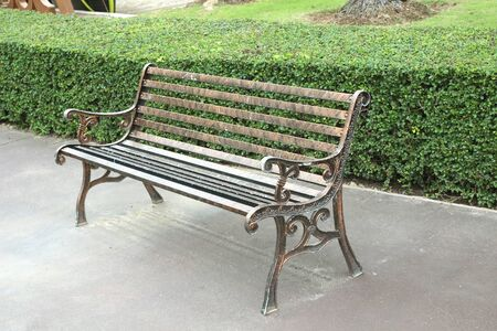Wooden bench in the city park