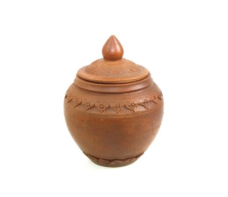 Clay pot with lid on white back