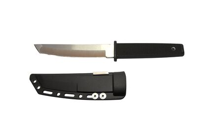 knife with a black handle with black sheath on a white background Stock Photo - 136903907