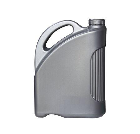 Grey plastic gallon on white background. Isolate plastic gallon on white.