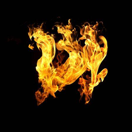Fire flames on black background Reklamní fotografie - 143528579