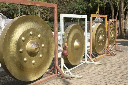 golden gong is large in a Thai temple