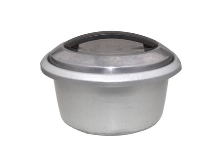 pot with lid and plastic handles isolated on white background