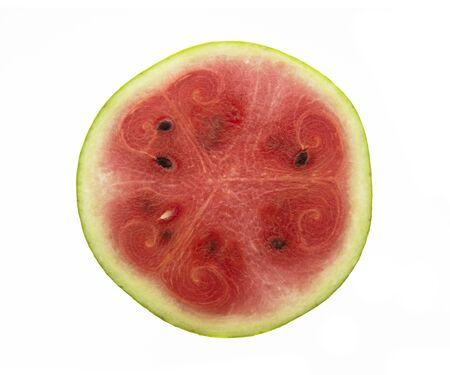 Watermelon in half on a white background