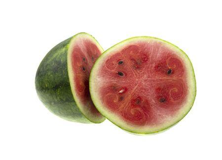 Half watermelon with isolated on white background Zdjęcie Seryjne