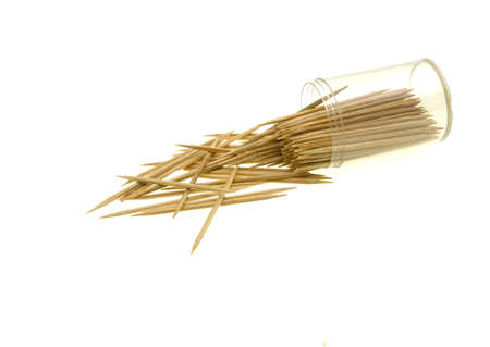 Wooden toothpicks isolated on white background