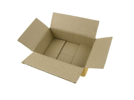 Cardboard box with lid open isolated on white background.