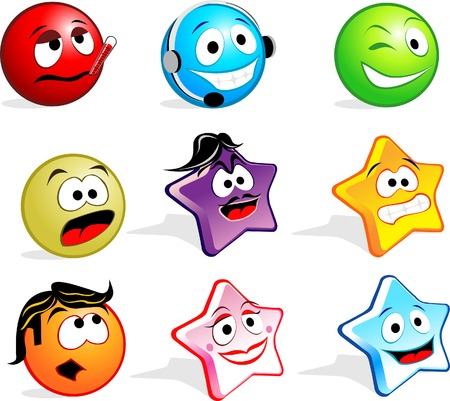 Cute Icon Faces Vector