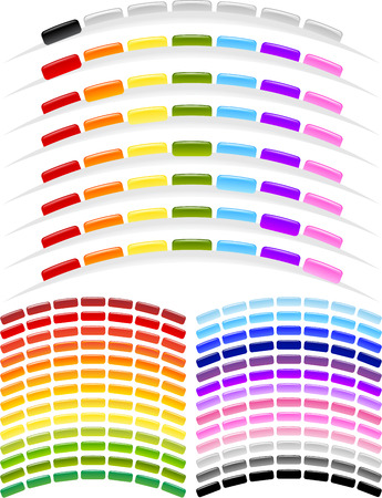 Set of professionally designed arc shape menu buttons in vaus rainbow color choices in Gel or Glass style. Ideal for Top Menus. Check my other button collection. Stock Vector - 2903704