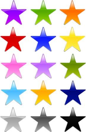 Set van professioneel ontworpen stervorm knoppen in verschillende kleuren keuzes in Gel of Glass stijl. Stock Illustratie