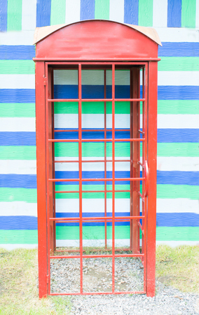 red telephone box: telephone booth