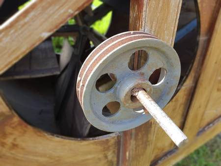 old rusty flywheel