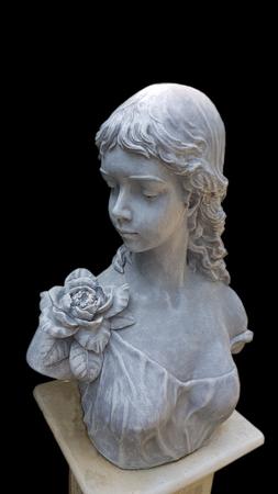 Isolate white roman girl Statue