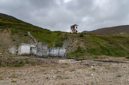 Abandoned buildings and galleries of a mercury mine