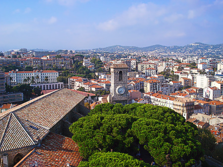 panorama of the city of Cannes from a high observation deck photo