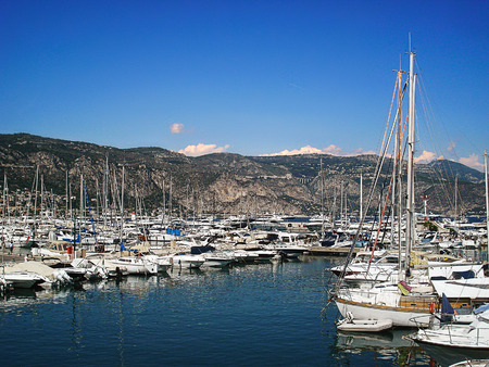 intended: Port  of Saint-Jean-Kap-Ferra village is intended for small walking yachts and boats Stock Photo
