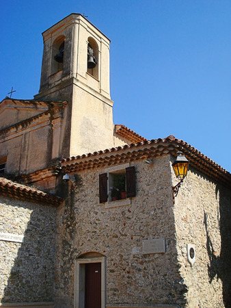 predicted: The chapel Saint-Ospis was built in the XI century. According to a legend the eremite Gospity chained himself to a tower near Nice and ate only dates and bread thanks to what he found theomancy and predicted invasion of Lombards. Stock Photo