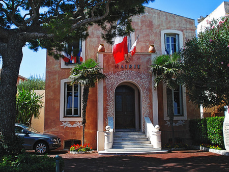 french riviera: City hall of  Saint Jean Cap Ferrat. Saint-Jean-Kap-Ferra is a small village and an expensive resort on the cape of French Riviera acting in the sea. Editorial