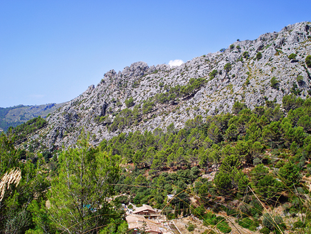 sunshine background: Magnificent views of the rocky mountains Tramuntana Majorca. Stock Photo