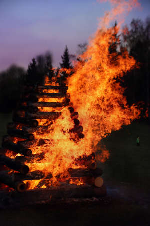 feast: Burning witches - big fire. Spring Slavonic feast.
