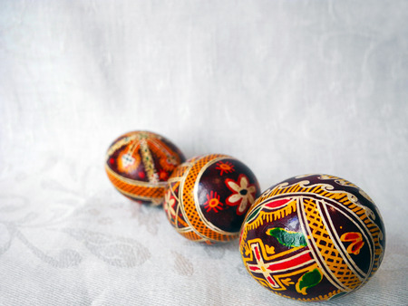 pascha: Painted Easter eggs close-up prepared for the celebration. Stock Photo