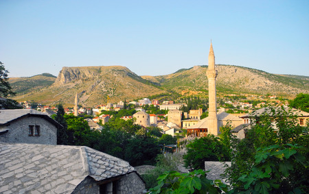 neretva: The architecture of the city of Mostar, Bosnia and Herzegovina.