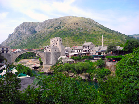 old bridge: Landscape of the city of Mostar and its main landmark of the Old Bridge.