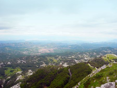 capita: View from the mountain Lovcen to the Podgorica, Montenegro.