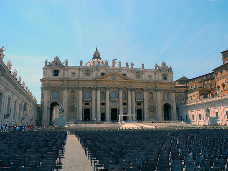 st  peter's square: St. Peters Square prepared for the celebration. Stock Photo