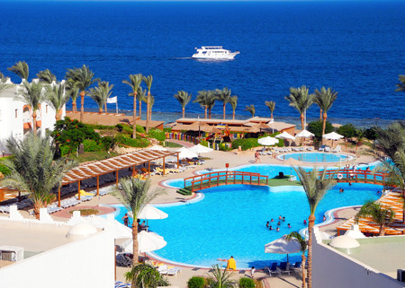 Sharm El Sheikh, Egypt - August 20, 2016: Tourists on vacation in the beautiful resort of Sharm El Sheikh. Editorial