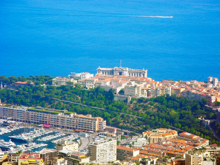 The building of the oceanographic museum in Monaco, located on the coast of the Ligurian Sea.