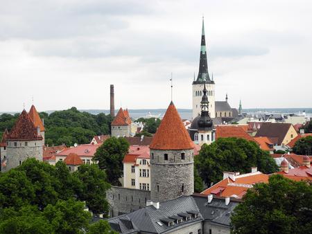 st german: Cityscape of old city Tallinn in Estonia.