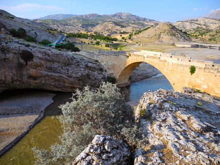 Severan Bridge over the river Kahta in Turkey.