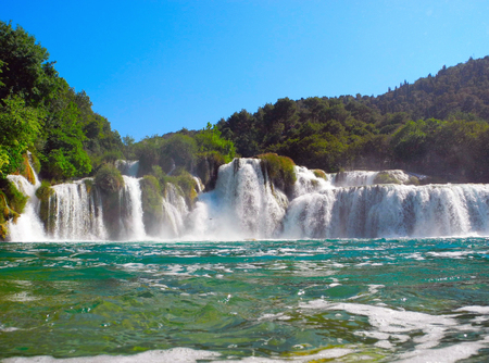 Krka National Park, waterfall Skradinski buk, Croatia. Stock Photo