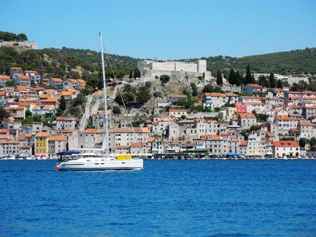 Yacht near coastline of Sibenik in Croatia. Stock Photo