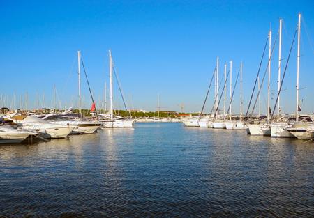 Yachts in the port of Vodice, Adriatic coast, Croatia.