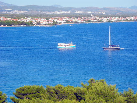Pine landscape of town of Vodice at the Adriatic coast of Croatia.