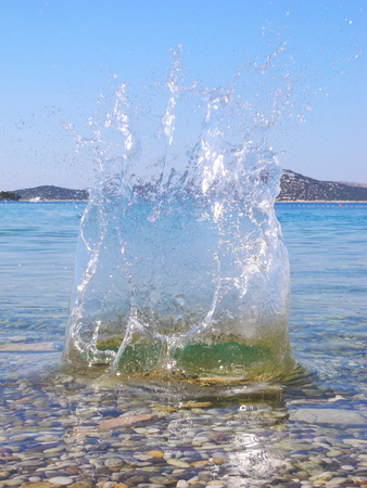 The splash of clean water on the sea.