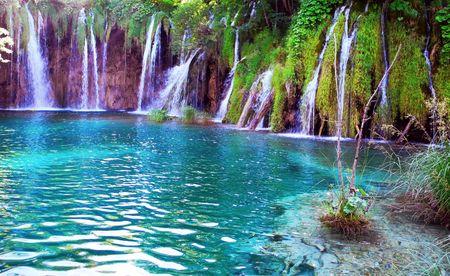 Lake and  waterfalls in Plitvice National Park in Croatia.