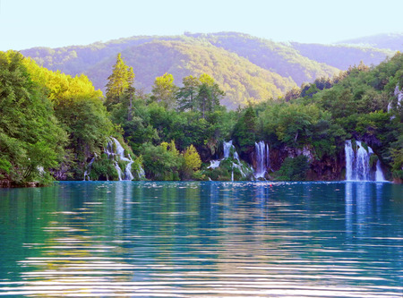 Waterfalls in Plitvice Lakes National Park in Croatia. 免版税图像