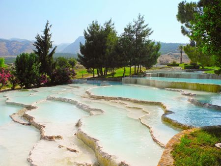 Summer landscape of beautiful Pamukkale travertines, Turkey. Stock Photo