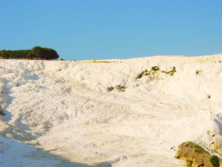 Landscape white calcium hill Pamukkale in Turkey.