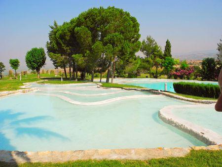 Summer landscape of beautiful Pamukkale travertines, Turkey. Stock Photo