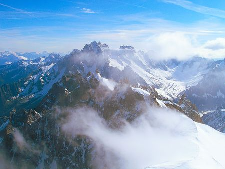 courmayeur: The majestic peaks of mountain range Mont Blanc, France.