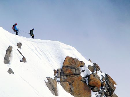 Climbers on the slopes of famous Mont Blanc in France.
